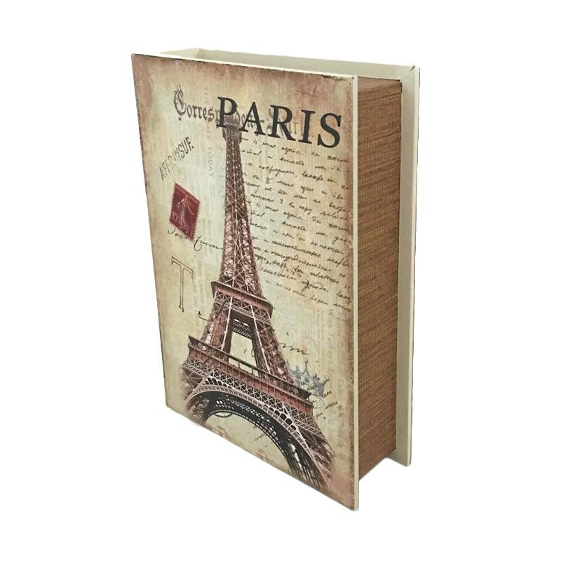 harga Decorative Vintage Wood Retro Book Safety Secret Box Storage - Brankas Buku Antik Jadul Kuno - LARGE SIZE Paris Letter Blibli.com