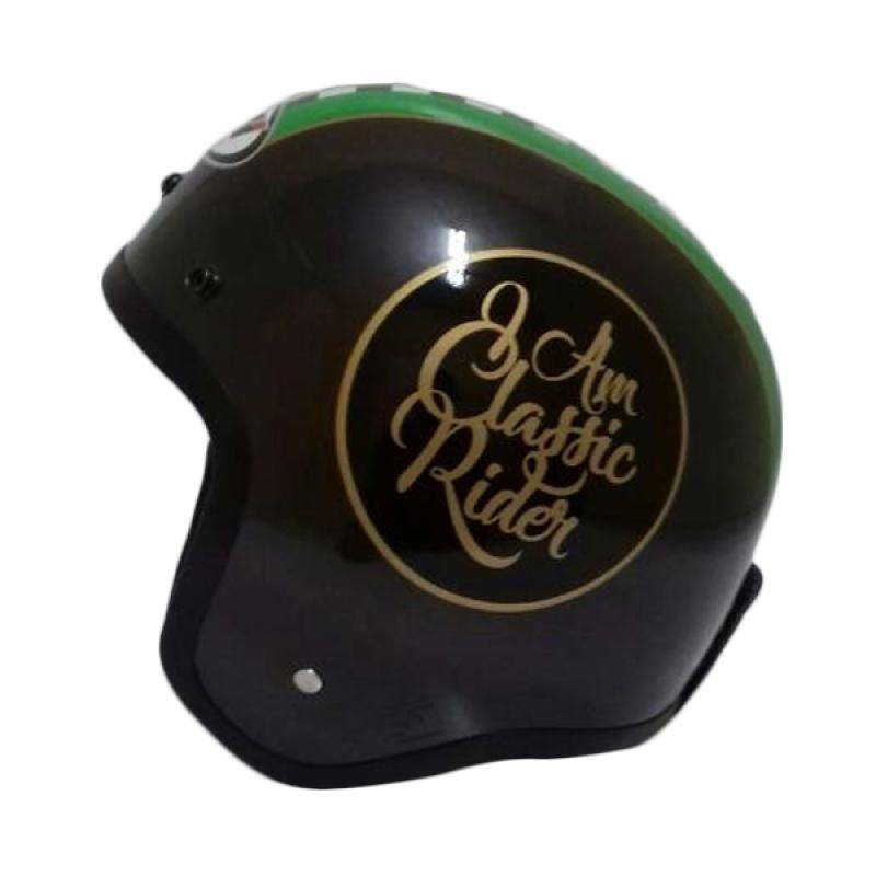 THI Helmets Classic Grafis Helm Half Face - Hitam