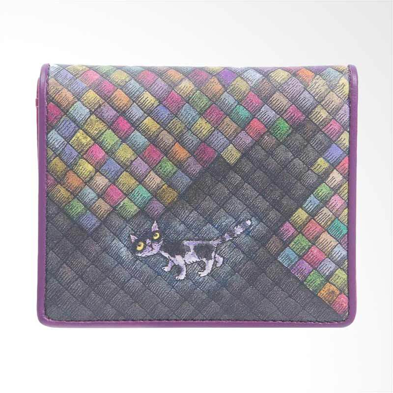 IPC Mansion Selected Colourful Grid Cat Short Purse Dompet Wanita - Purple