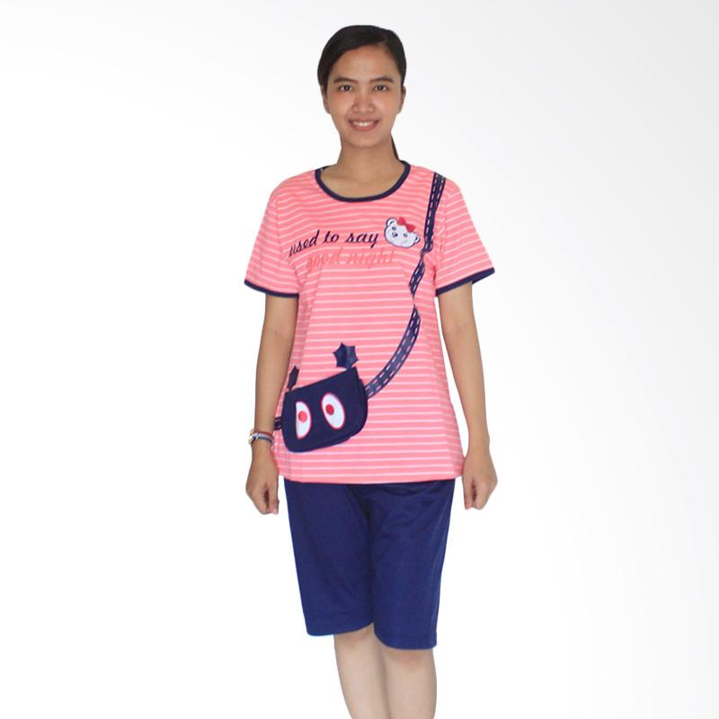 Aily 302 Setelan Baju Tidur Wanita & Celana Pendek - Pink Salem
