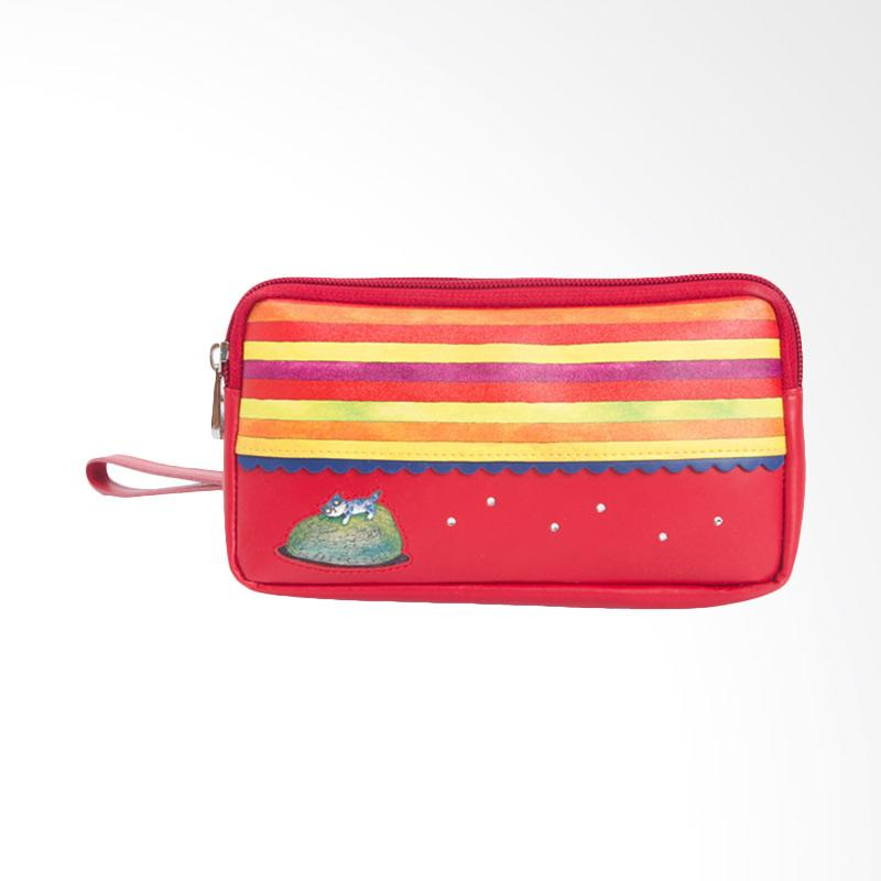 IPC Mansion Selected Jimmy Colorful Strip Cat Simple Long Purse Dompet Wanita - Red