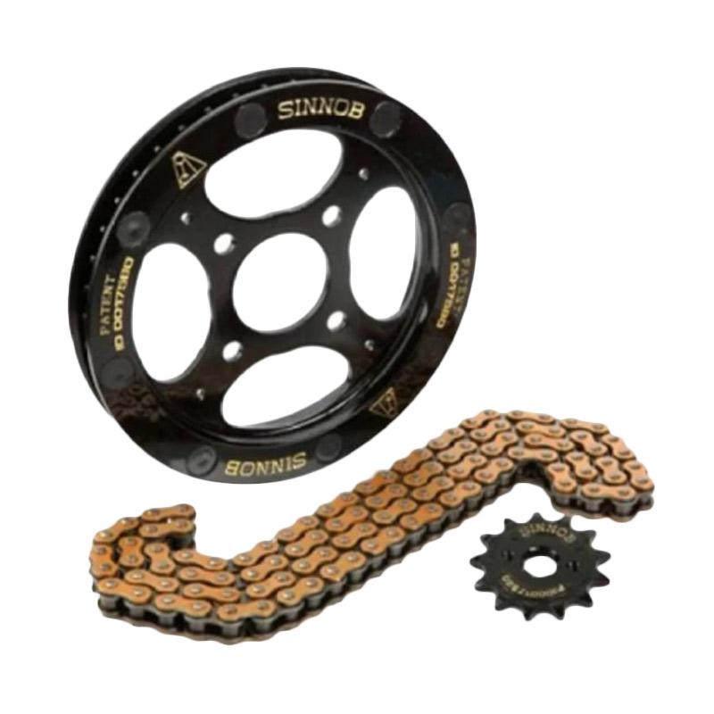 Sinnob Premium Sprocket Gear Set Motor for Suzuki Satria F150 New - Hitam [PGR2037-Hitam]