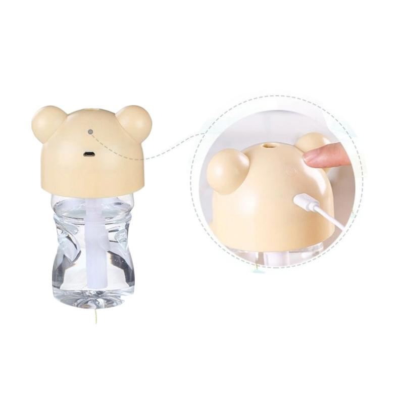 TOKUNIKU USB Mini Portable LED Cartoon Bottle Caps Humidifier - Krem [280 mL]