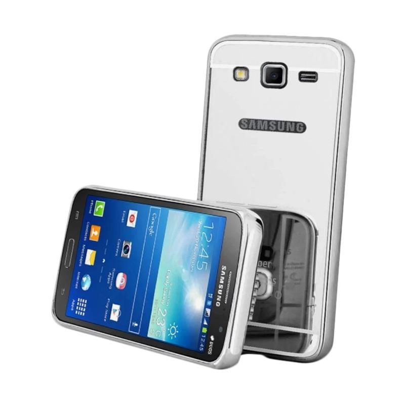 QCF Bumper Mirror Siliding Alumunium Metal Hardcase Casing for Samsung Galaxy J7 Core - Silver