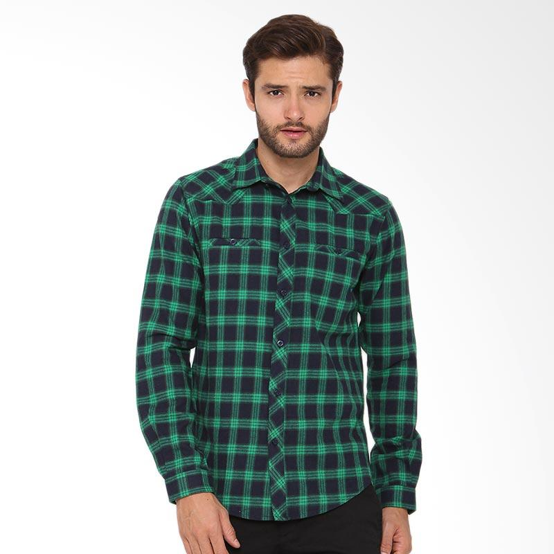 A&D Fashion Mens Shirt Long Sleeve Atasan Pria - Green [Ms 814]