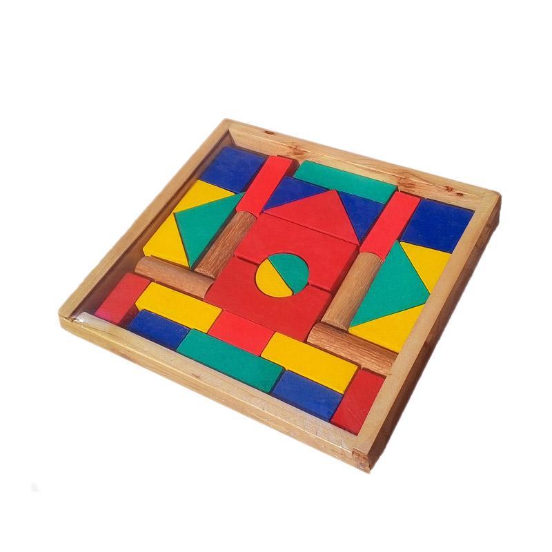 Atham Toys A48 Balok Bangun Bingkai Mainan Kayu Edukatif