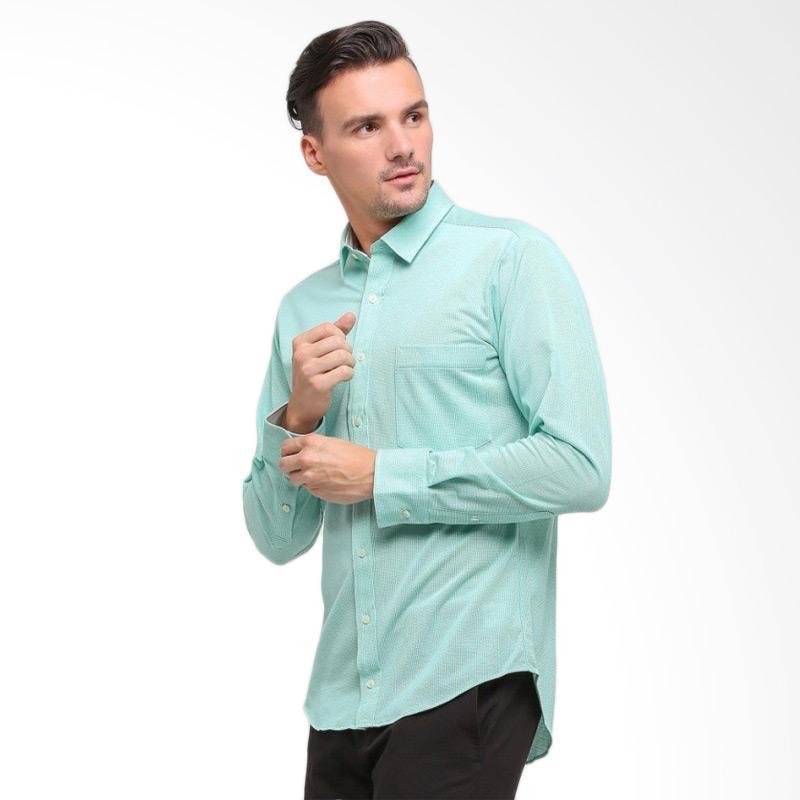 GT Man Long Sleeve Shirt Kemeja Pria - Green [KGT002GR]