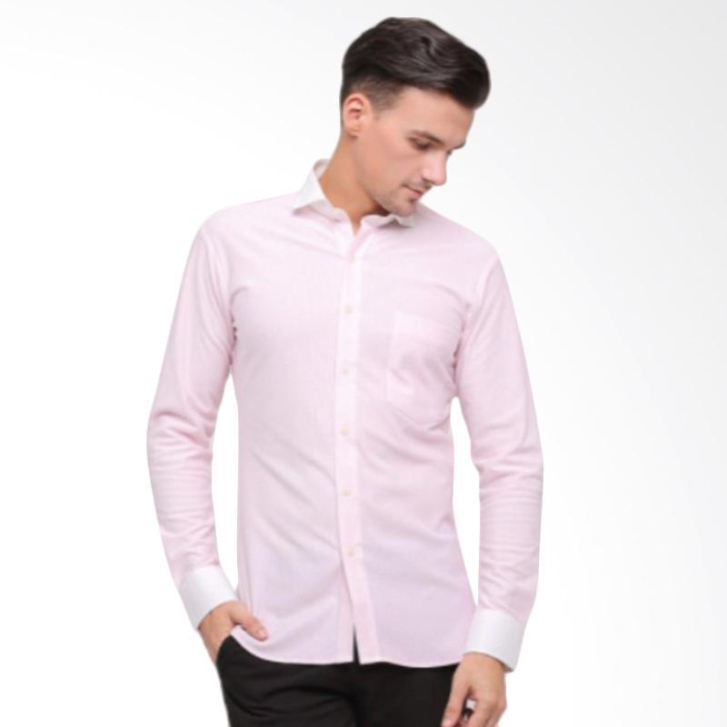 GT Man Long Sleeves Shirt Kemeja Pria - Pink White [KGT015PK]