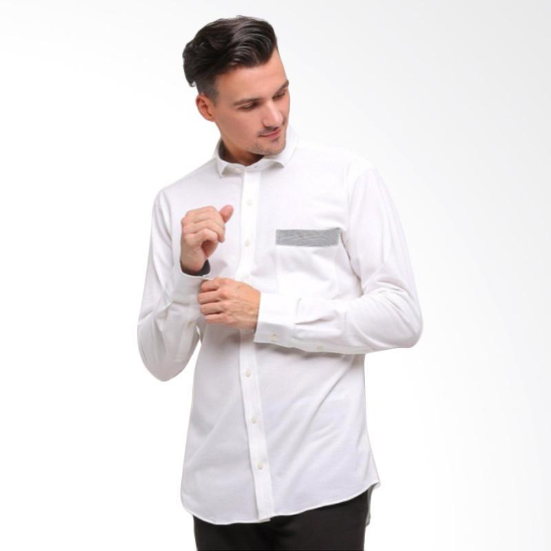 GT Man Long Sleeves Shirt Kemeja Pria - White [KGT001WH]