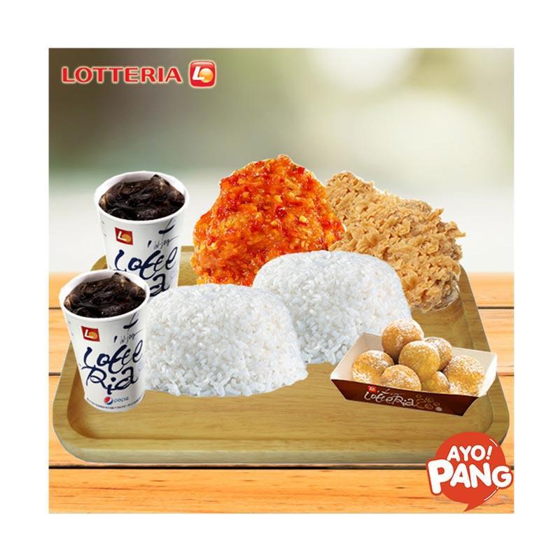 Lotteria Paket Berdua B [1 Crispy Chicken/1 Chicken Buldak/ 2 Nasi/ 2 Pepsi/ 1 Sweet Ball]