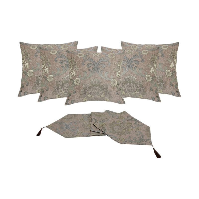 Tren-D-home Chenille Jacquard Aksen Dekorative Sarung Bantal Sofa [40 x 40 cm/5 pcs] + Runner Taplak Meja [33 x 150 cm] - Hijau