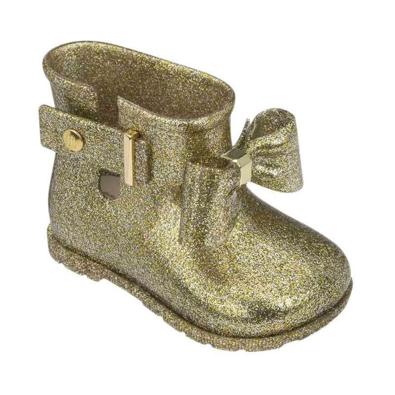 Mini Melissa Sugar Rain Boots Bow Sepatu Anak Perempuan Gold