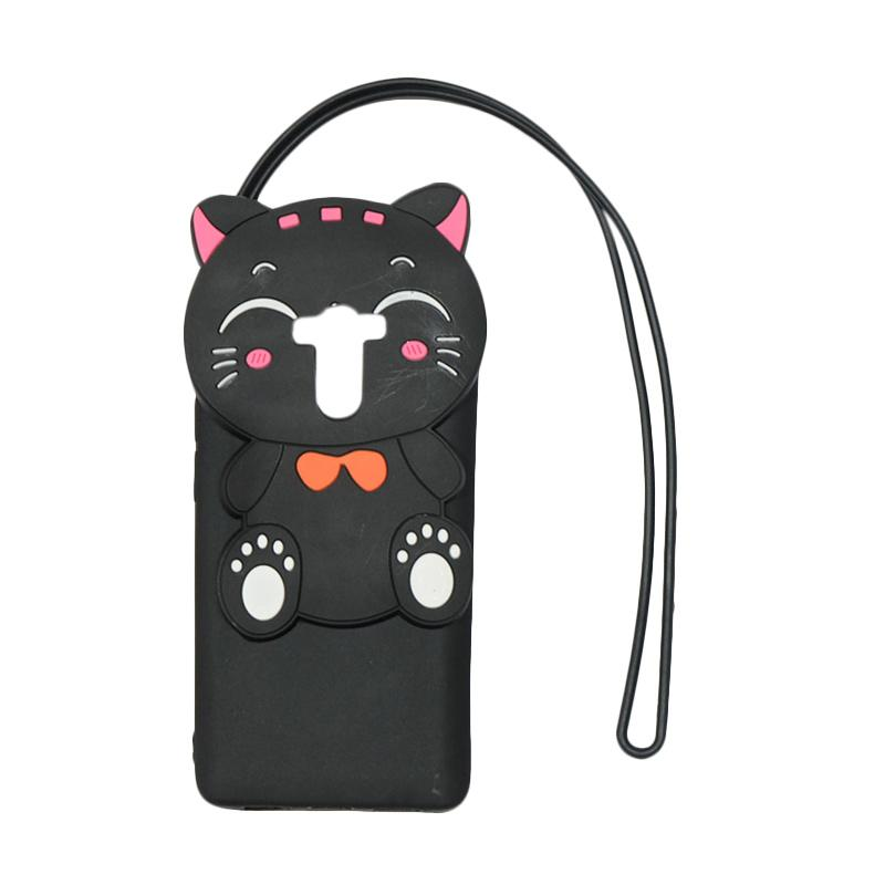 QCF Softcase 4D Silikon Case 4D Karakter Kucing Lucky Cat Edition Silikon Softcase with Kalung Tali Gantungan Casing for Xiaomi Redmi 4 - Black