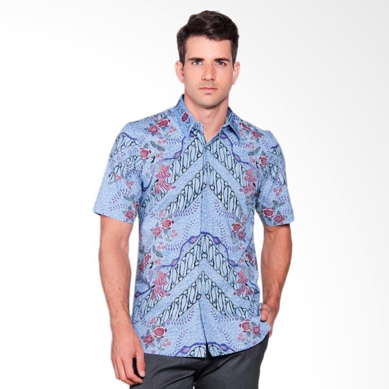 Batik Heritage Katun Premium Zigzag Peacock Slim Fit Pendek Kemeja Batik Pria - Biru