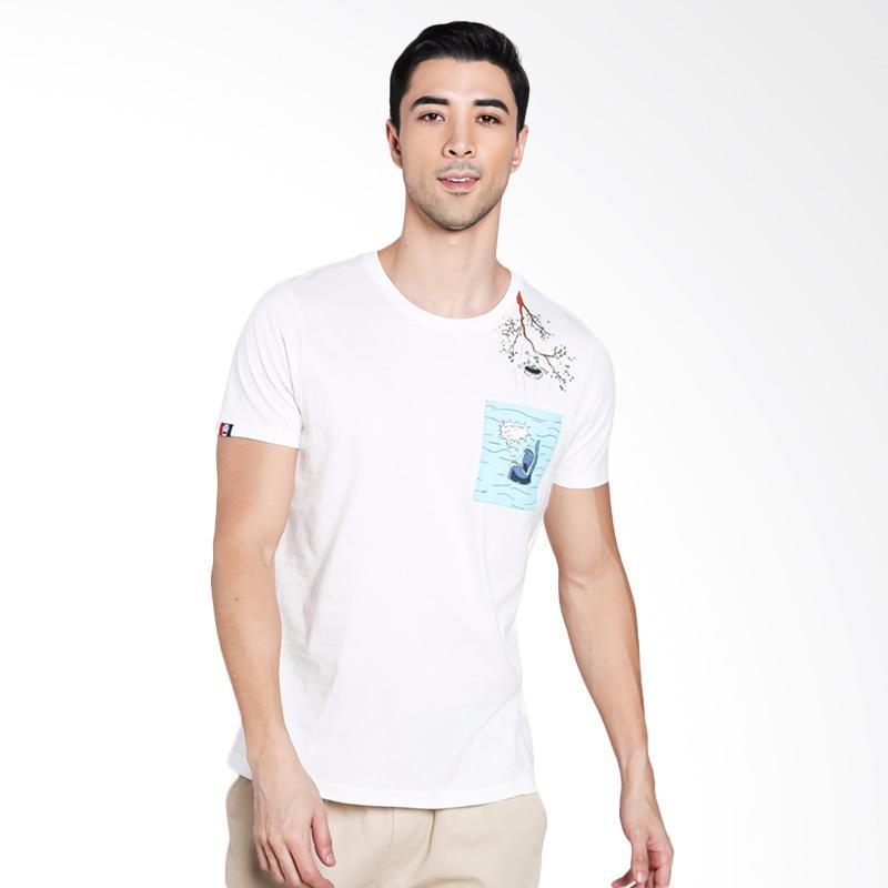 3SECOND Men 1201 T-Shirt Pria - Cream