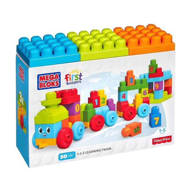 Fisher Price Mega Bloks 123 Learning Train Mainan Block dan Puzzle