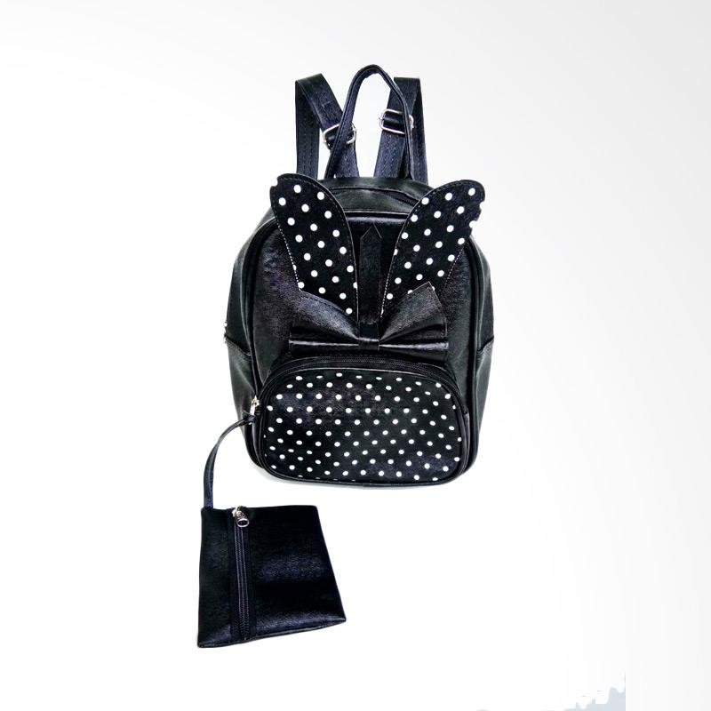 Chloebaby Shop Polka Rabbit Kanvas Backpack Wanita - Black
