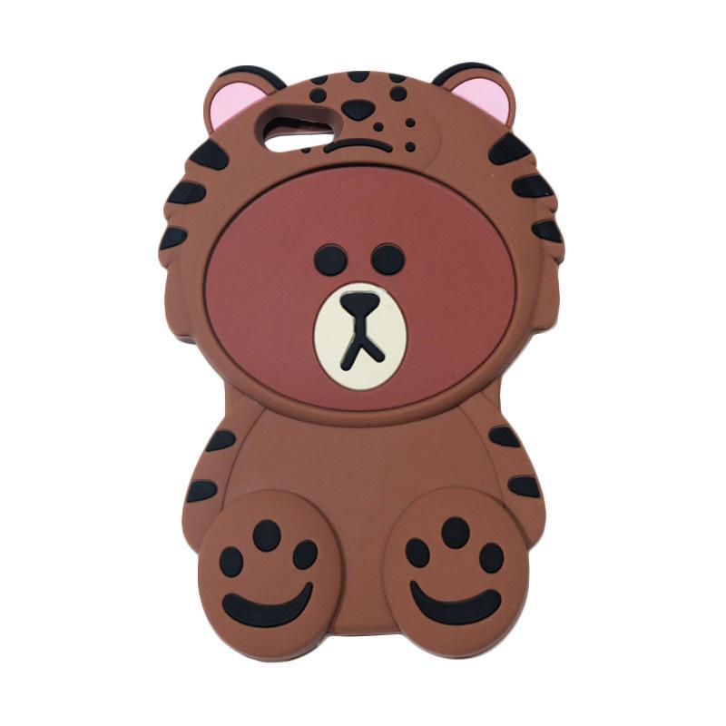 QCF Softcase 4D Karakter Beruang Kostum Singa Silicone Casing for Oppo A57 - Coklat