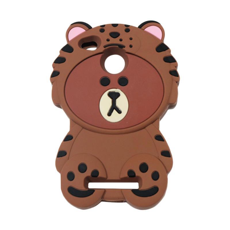 QCF 4D Karakter Beruang Kostum Singa Silicone Softcase Casing for Xiaomi Redmi 3S - Coklat