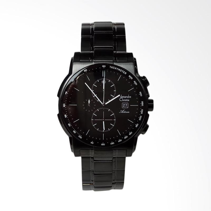 Alexandre Christie Asteria Chronograph Stainless Steel Jam Tangan Pria - Black [AC6470MC]