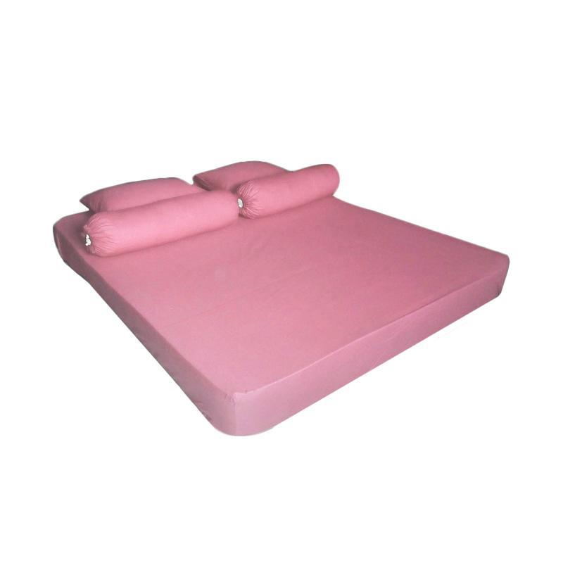 Tren-D-Home Polos Series Katun Polyester Set Sprei - Pink Pastel [180 x 200 x 20 cm]