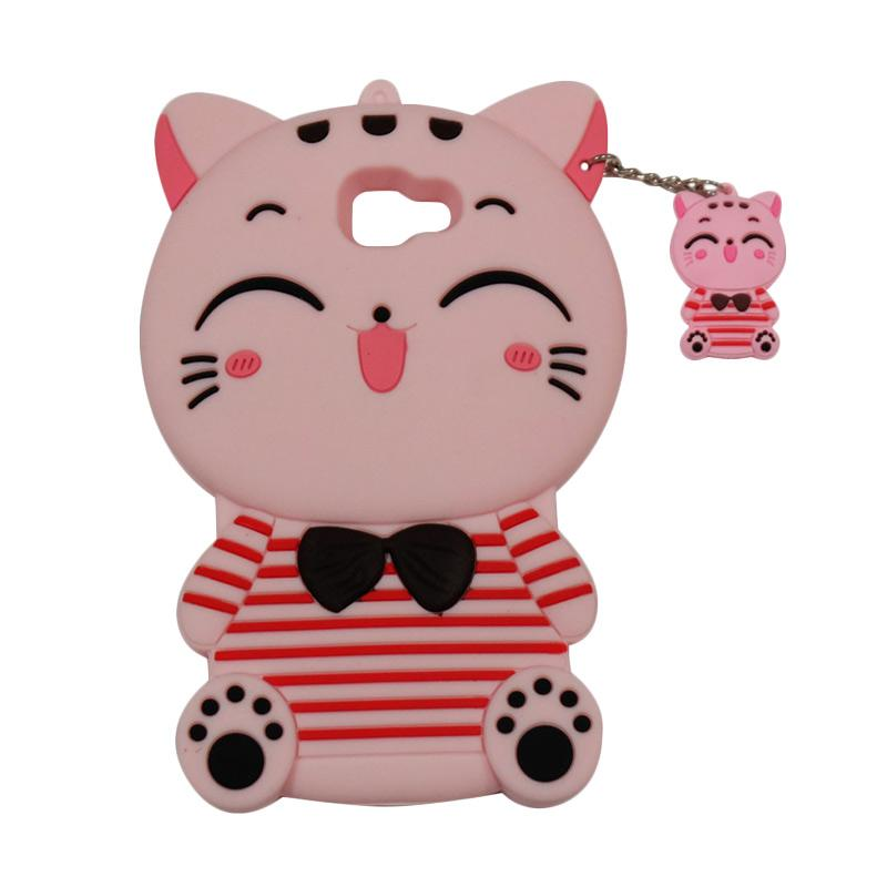 QCF Softcase 4D Karakter Kucing Lucky Cat Pink Silicone 4D Casing for Samsung Galaxy J5 Prime - Pink