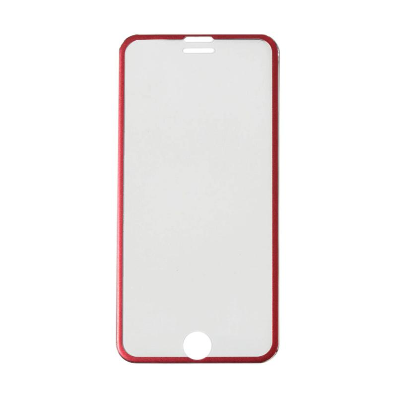 QCF Tempered Glass Ring Besi Aluminium Screen Protector for Apple iPhone 6 / iPhone6 / Iphone 6G / 6S 4.7 Inch Pelindung Layar - Merah