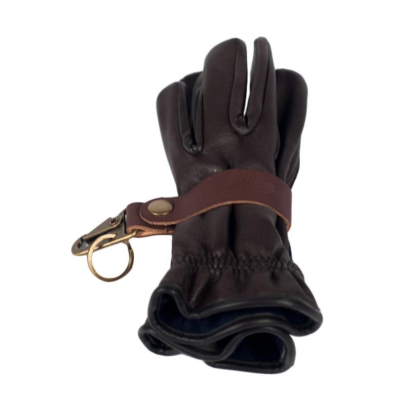 Boulter Helmet Tactical HK Clip Leather Key Fob or Glove Strap - Dark Brown