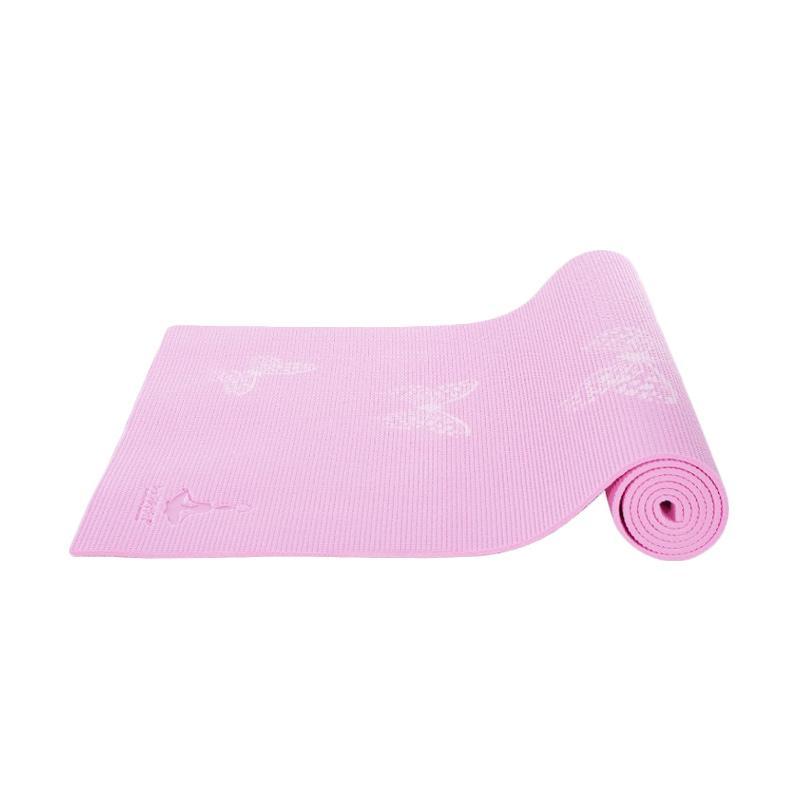 HAPPYFIT PVC Printing Butterfly Matras Yoga - Pink [6 mm] + Free Tas