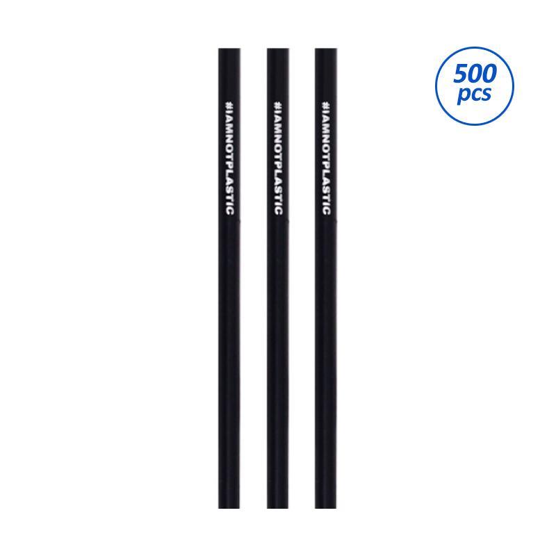 Avani PLA Straw #IAMNOTPLASTIC Sedotan Minuman - Black [6 x 145 mm/500 pcs]