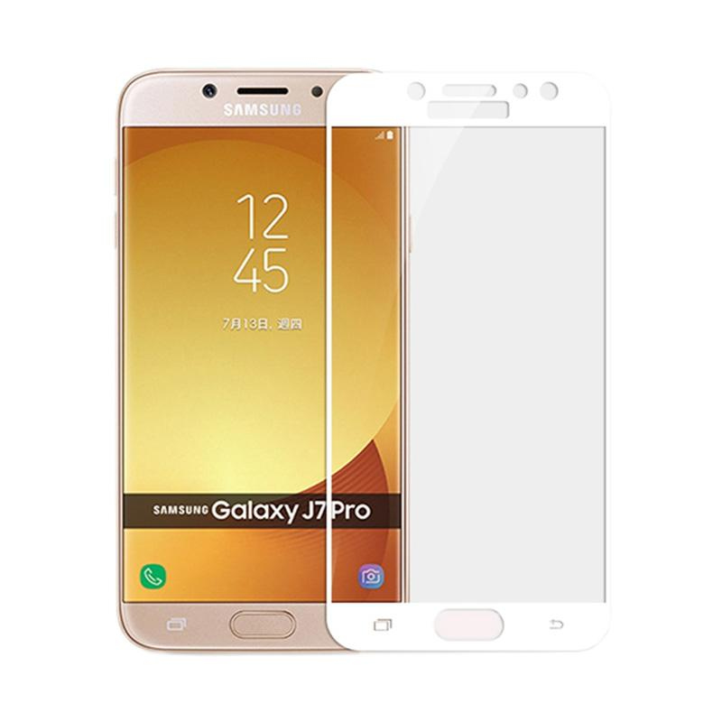 QCF Full Tempered Glass Screen Protector for Samsung Galaxy J7 Pro 2017 - Putih [Front Only]
