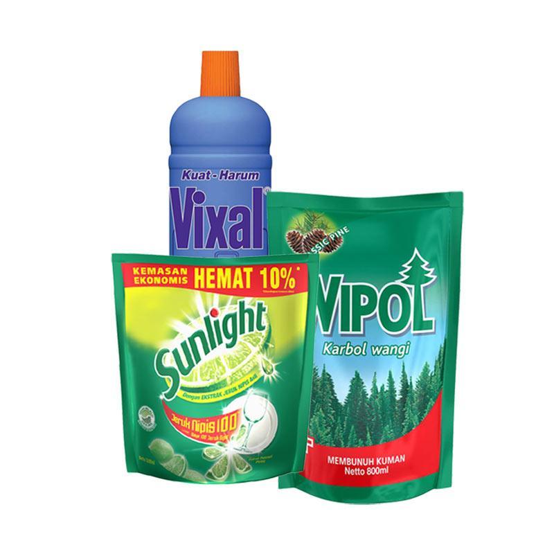 Ulasan Terbaru Paket Home Care 4 - SUNLIGHT Lime Refill [1200 mL] + Wipol