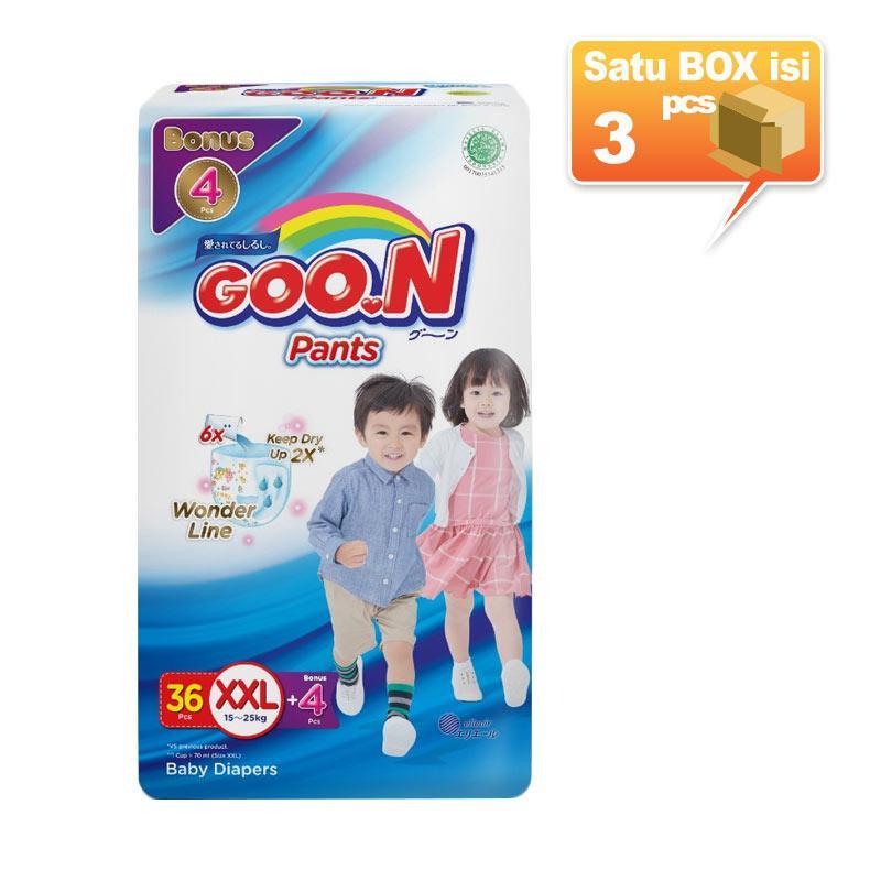 Cek Harga Mamypoko Popok Pants Extra Dry XL 26 Karton isi 4 Source · Ulasan Terbaru Goon Slim Pants Popok Sekali Pakai XXL36 4 Karton Isi 3