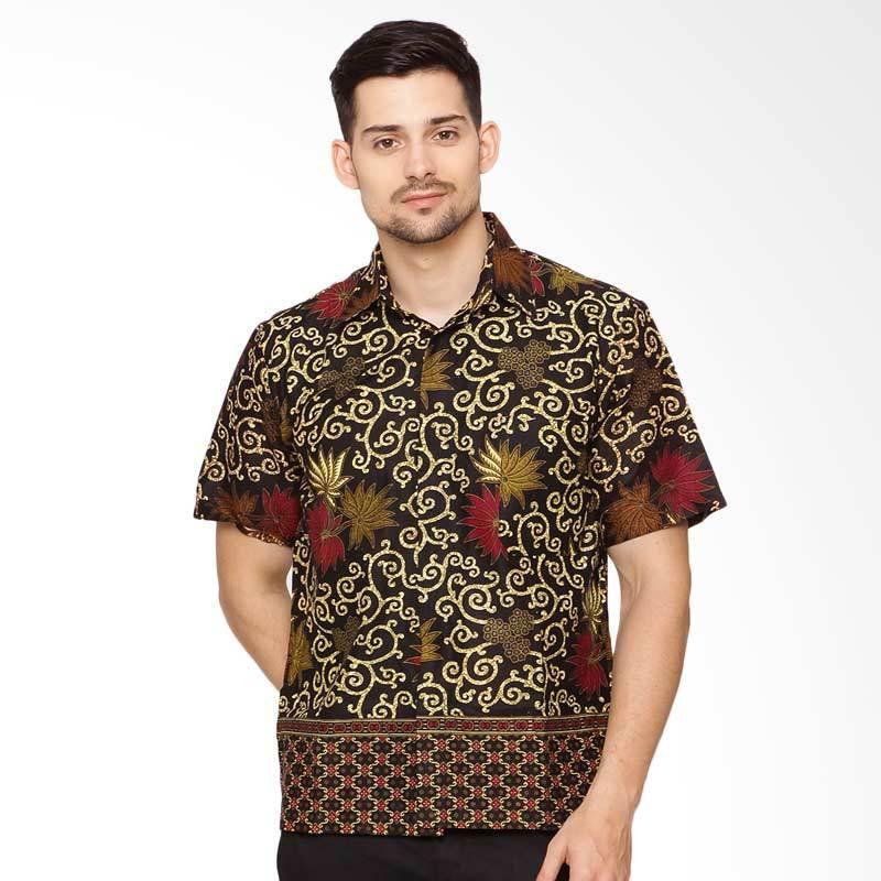 Jening Batik Short Sleeve Kemeja Batik Pria - Black Red [HR-056]