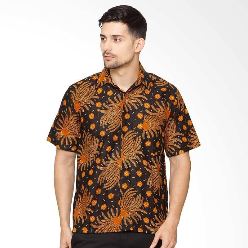 Jening Batik Short Sleeve Atasan Pria - Black Orange [HR-059]