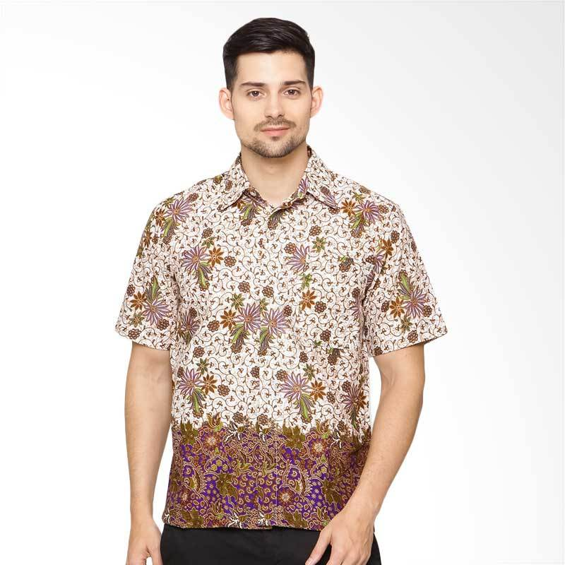 Jening Batik Short Sleeve - White Purple [HR-062]