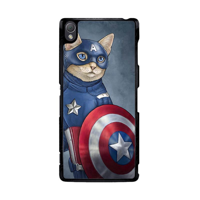 Flazzstore Captain America Cat Z0998 Custom Casing for Sony Xperia Z3
