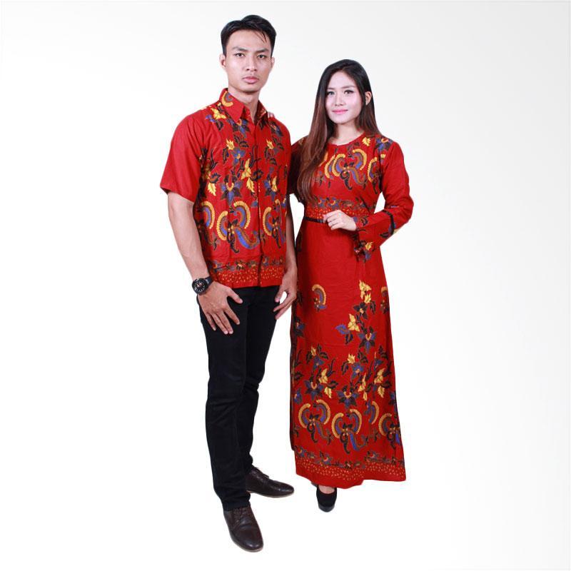Batik Putri Ayu Solo SRG503 Sarimbit Gamis Baju Batik - Merah