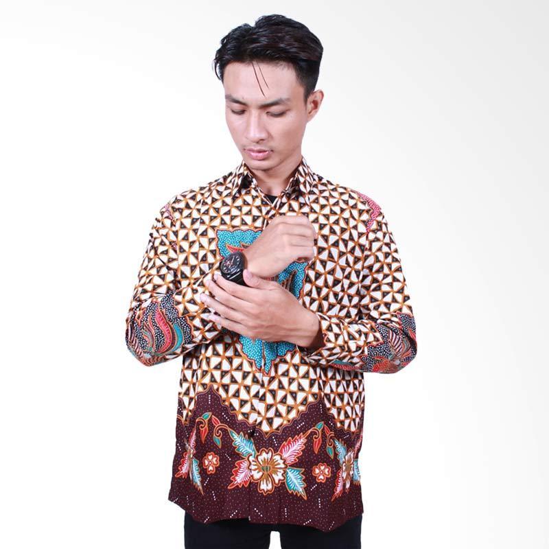 Batik Putri Ayu Solo Lengan Panjang KPJ500 Kemeja Batik Pria - Cokelat biru