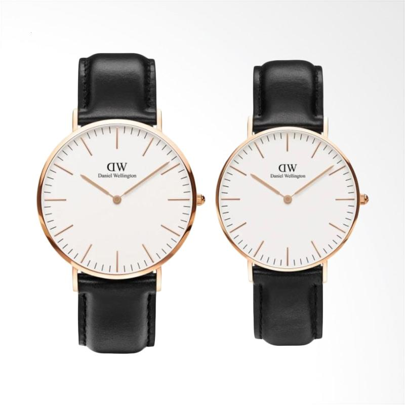 Daniel Wellington Couple Set Classic Sheffield Jam Tangan Couple - Rose Gold Hitam