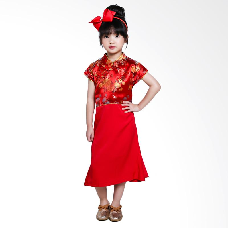 Versail Kids Cheongsam List Gold Junior Dress Anak Red