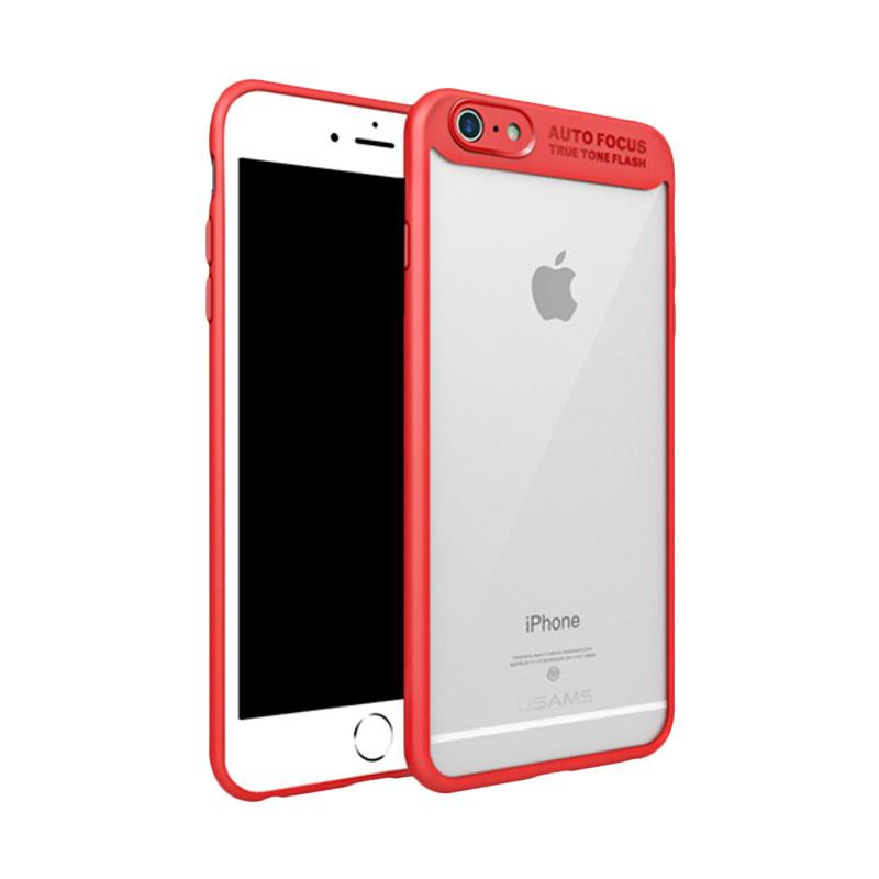 harga Usams Autofocus Transparan Karet PC Casing for iPhone 6 Plus or 6S Plus - Merah Blibli.com