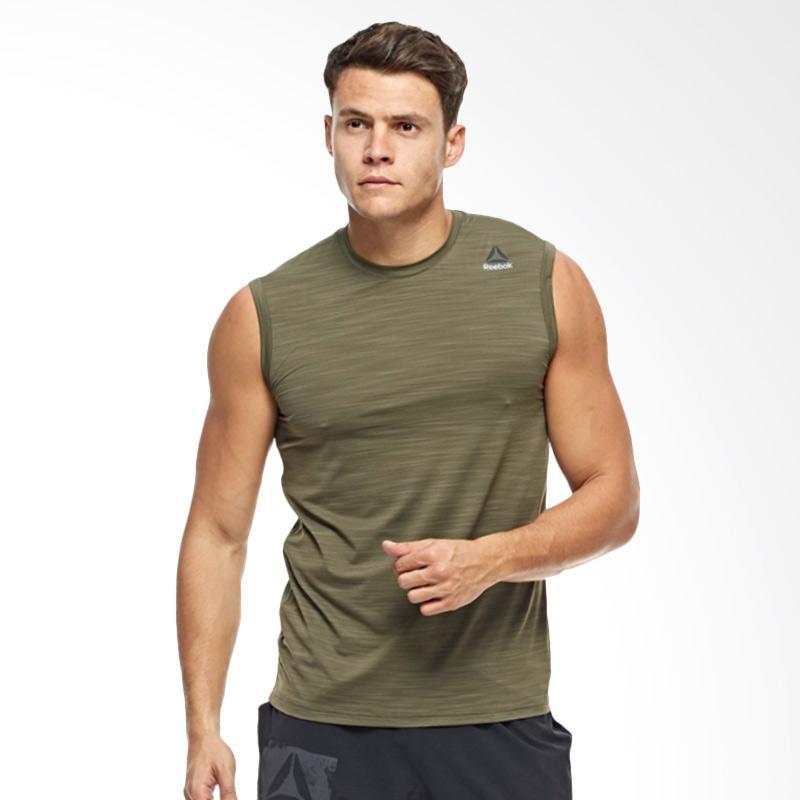Reebok Wor Activchill Sleeve Men Tanktop Olahraga Pria - Green Army [BQ3782]