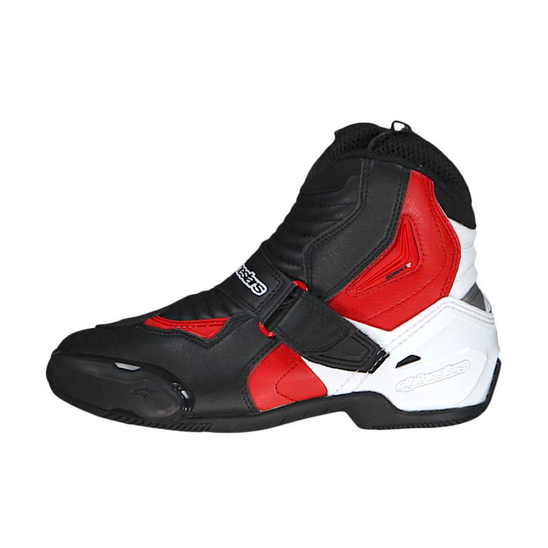 Alpinestars SMX 1 R Sepatu Touring Black White Red Original