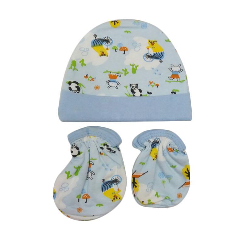 Mamimu Panda Set Topi Sarung Tangan & Kaos Kaki Bayi - Biru