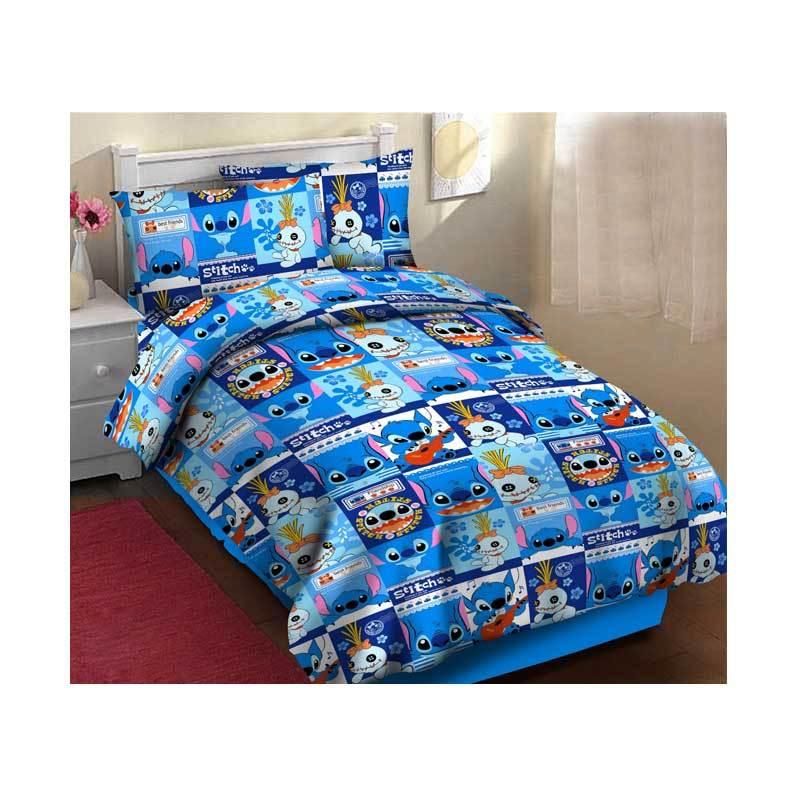 harga KING Bedsheet & Bedcover Motif Anak Stitch Katun Lokal Set Sprei - Blue Blibli.com