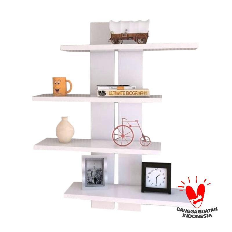 Kencana Floating Shelves Store Rak Dinding Combinasi Putih Putih Original