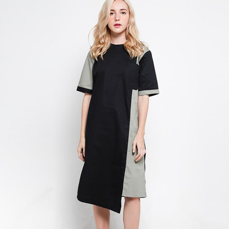 Slovv Assymetrical Big Pocket Shirt Dress PS MS001SD Dusty green