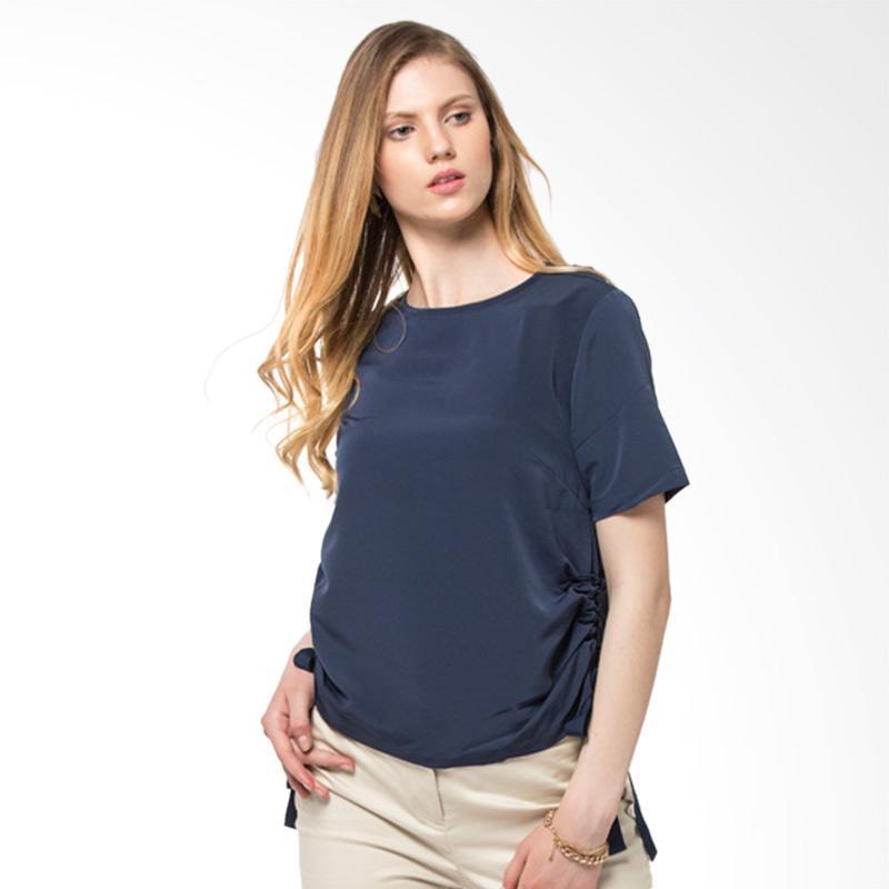 The Executive 5 Bswkey218B081 Short Sleeve Blouse Wanita Navy