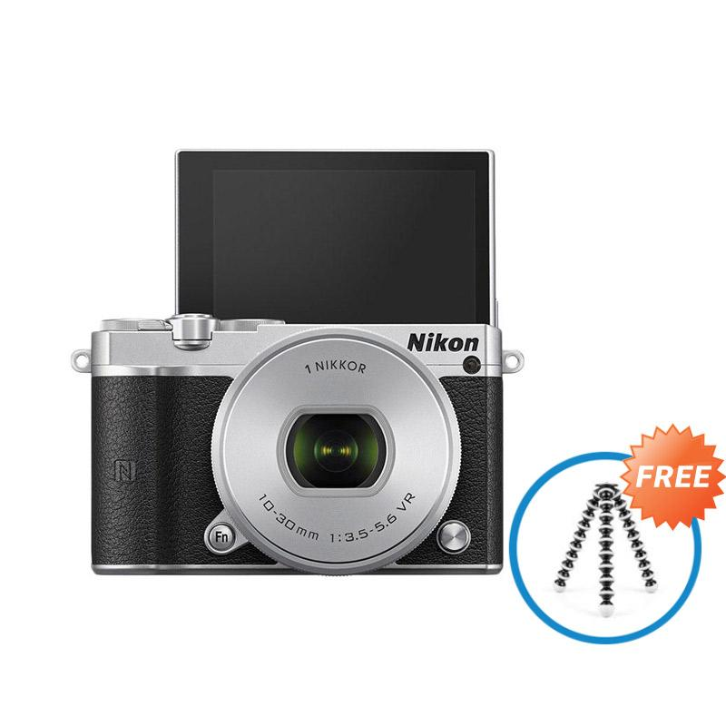Nikon 1 J5 Kit 10-30mm Kamera Mirrorless - Silver + Free Gorilla Flexible Tripod